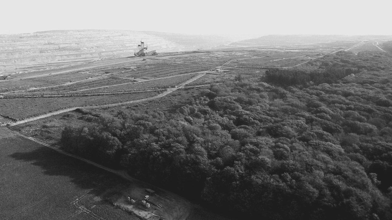 Luchtfoto van Hambach bos aan de rand van de mijn